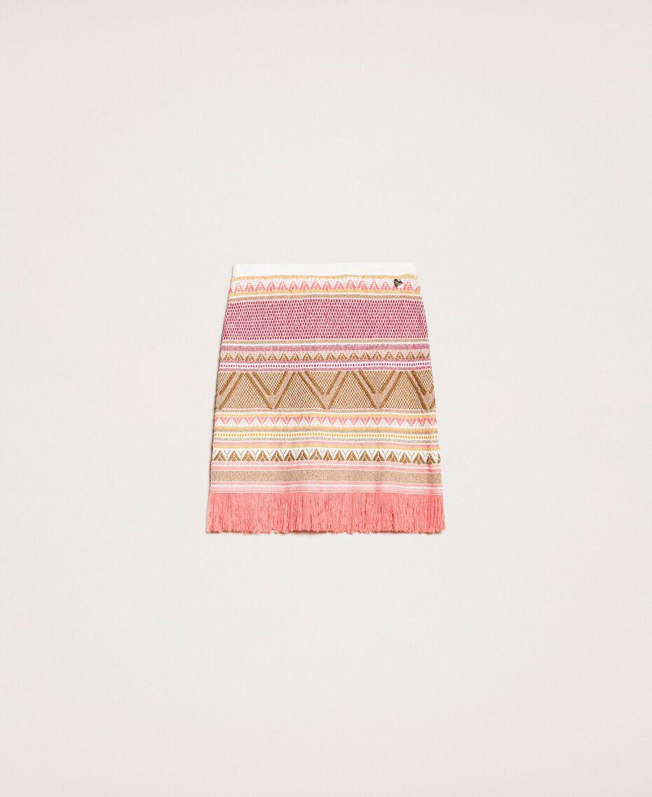 Short skirt with fringes Multicolour Pink Jacquard Woman 201TT3163-0S