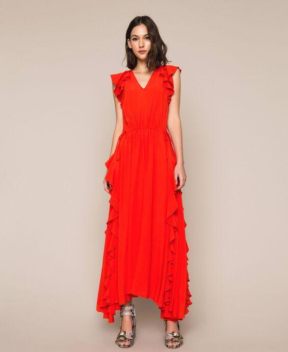 Silk blend long dress with ruffle