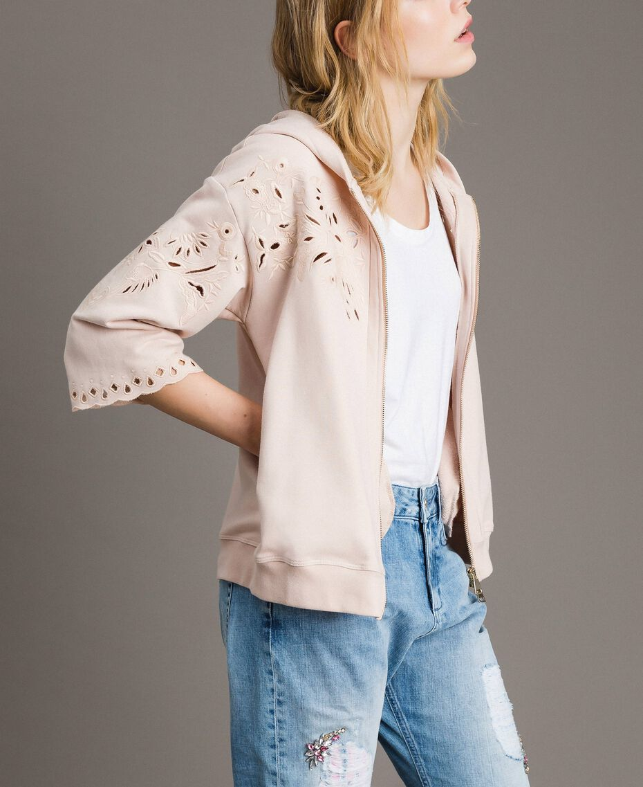 Sweatshirt with broderie anglaise embroidery Bud Pink Woman 191TP2593-02