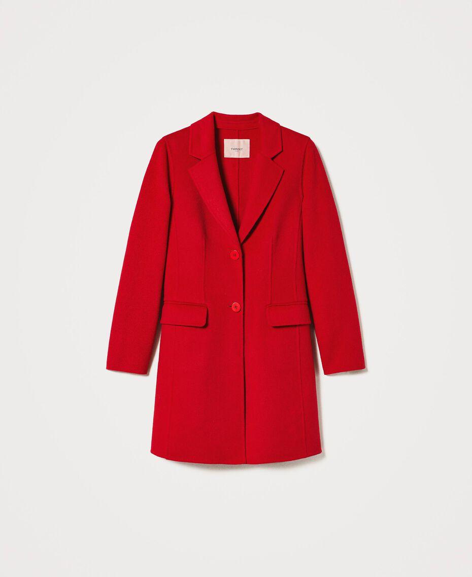 Mantel aus zweilagigem Tuch Kirsch Rot Frau 202TP2033-0S