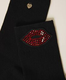 Socks with rhinestone patch Black Woman 202TO514D-01