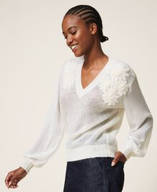 Mohair jumper with embroidery Creamy White Woman 202TP3260-03