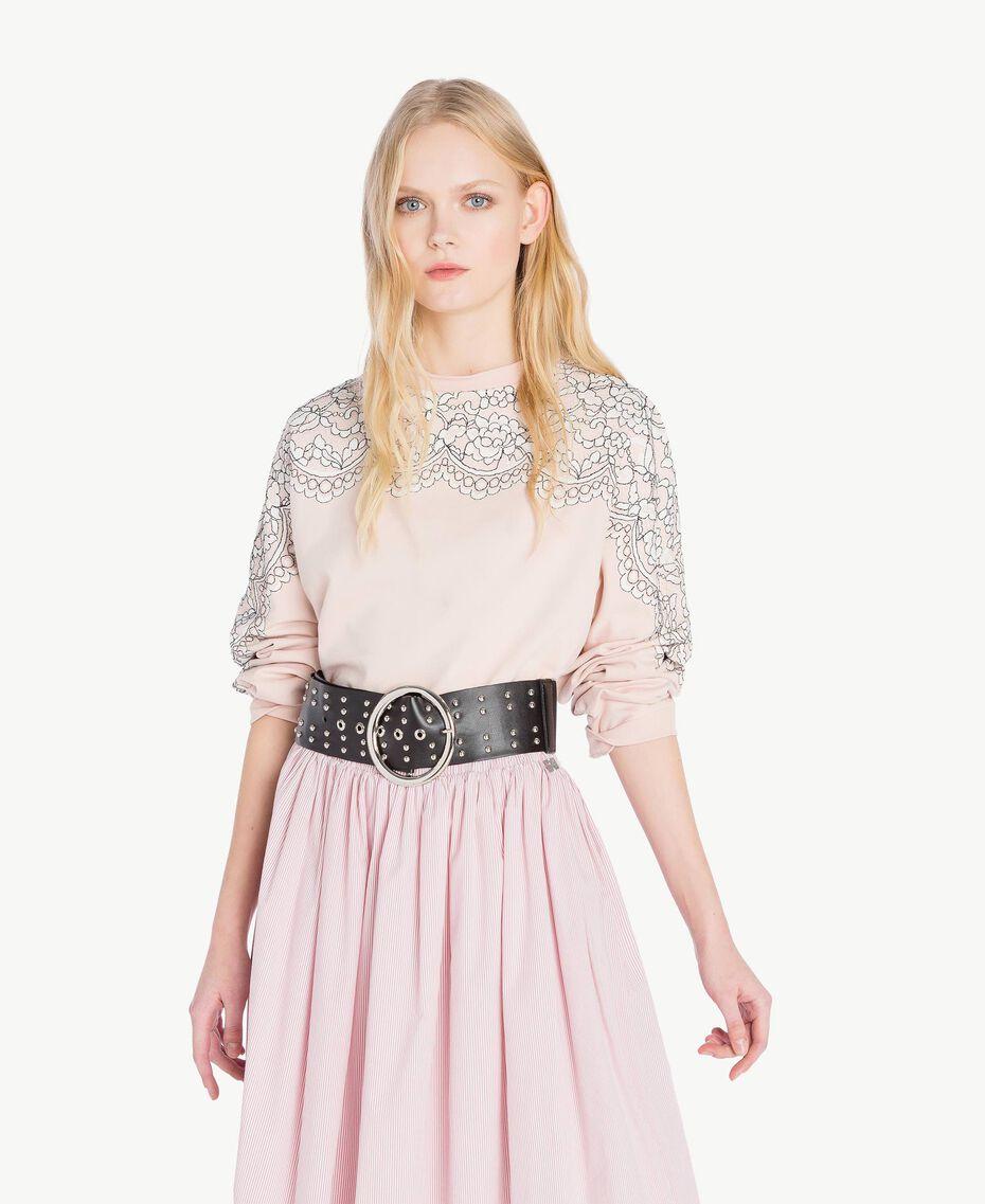 Sweat-shirt dentelle Quartz Rose Femme JS82H1-01
