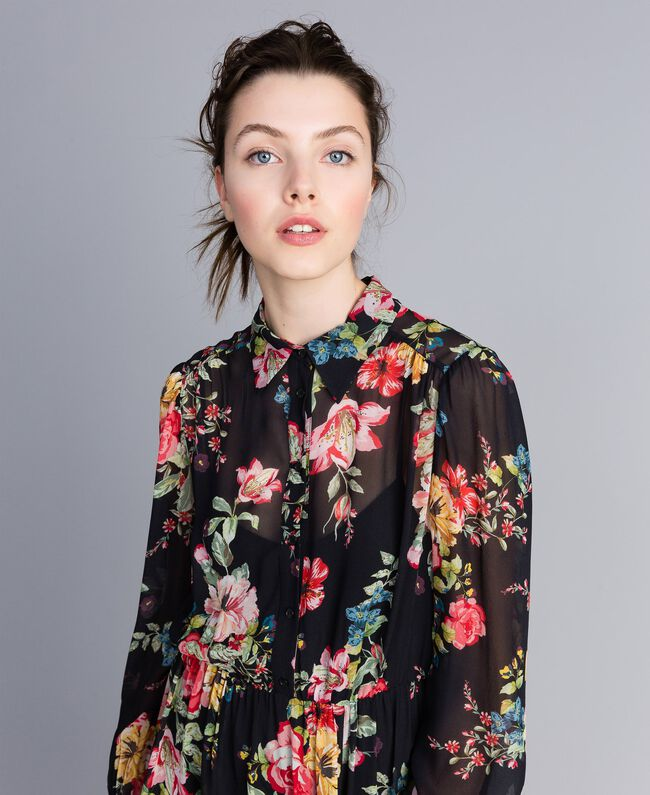 Floral print georgette dress Roses and Lilies Print Woman PA82MF-04