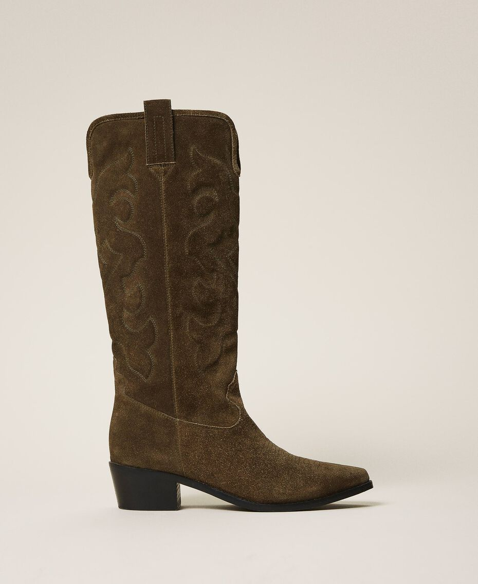 Suede Texas boots Dark Olive Green Woman 202TCP160-01