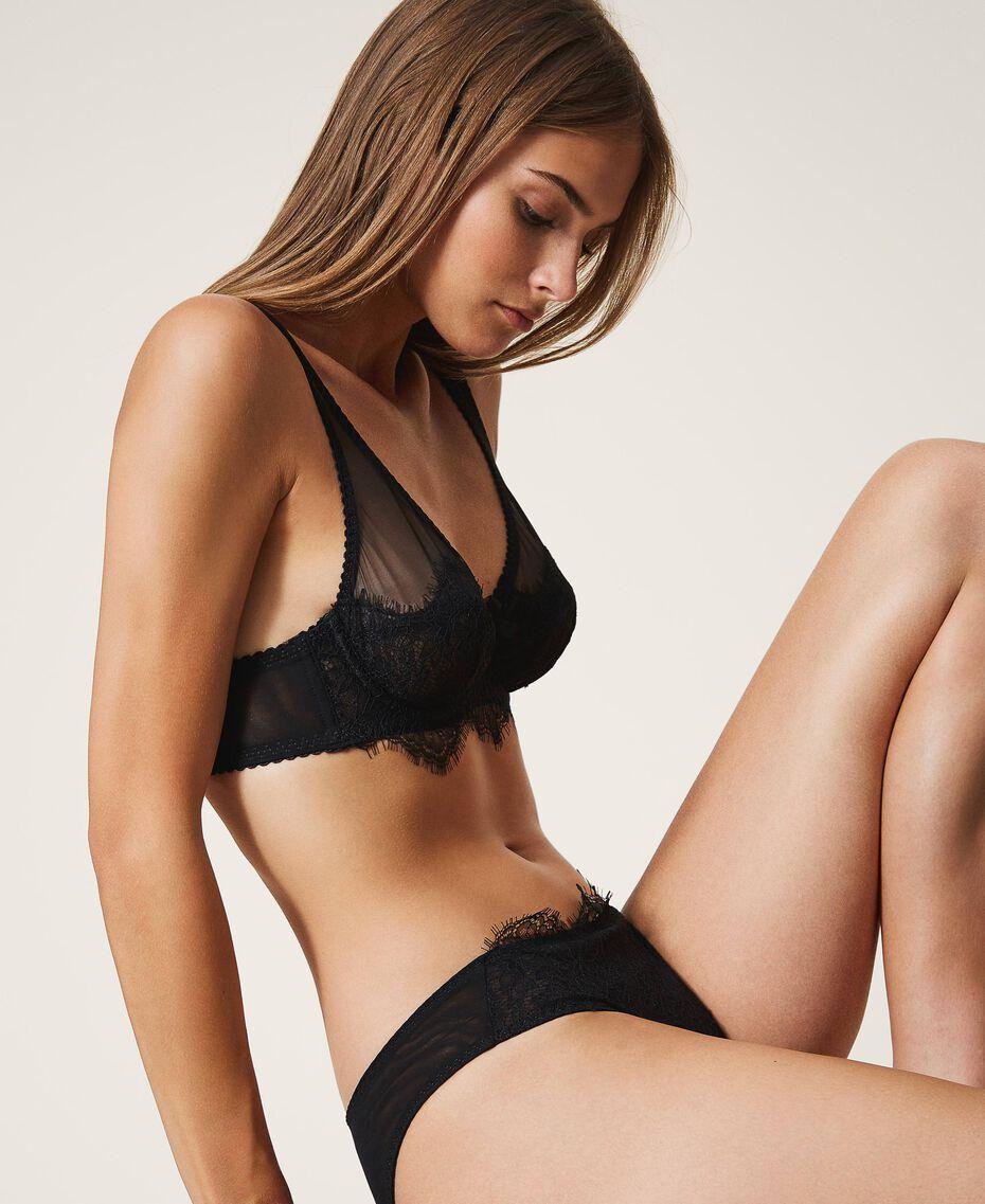 Underwire lace and tulle bra Black Woman 202LI6155-01