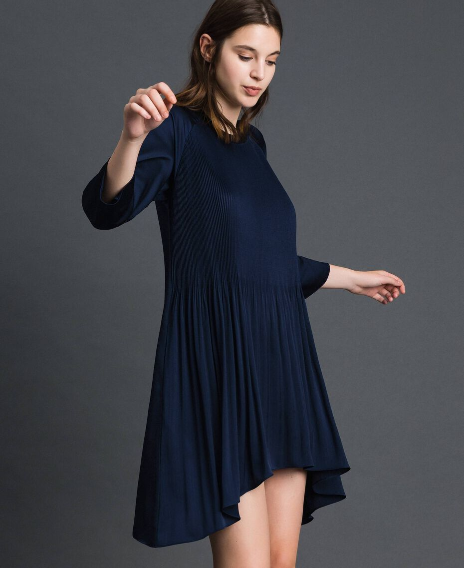 Pleated dress with three-quarter sleeves Night Blue Woman 192ST2091-02