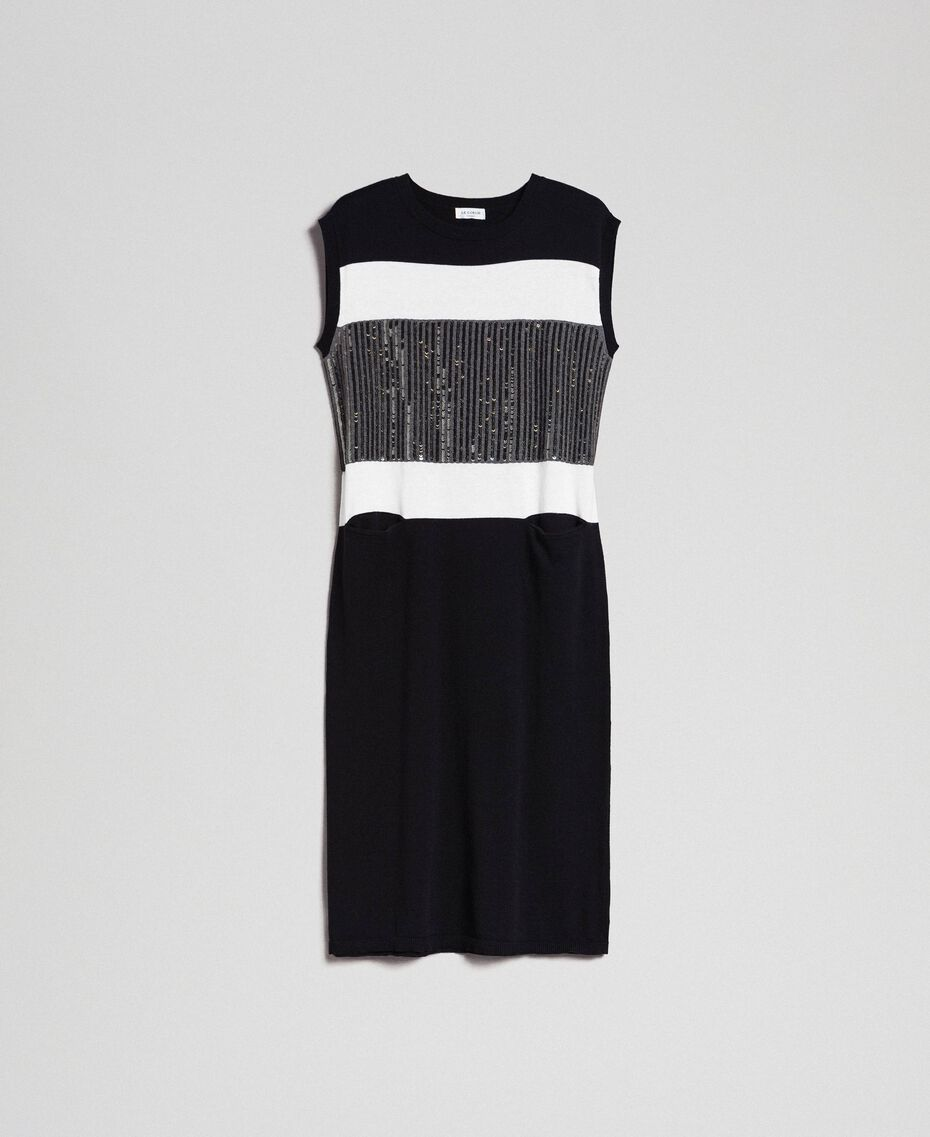 "Colour block dress with sequin embroidery Black Striped / ""Snow"" White / Dark Melange Grey Woman 192ST3073-0S"