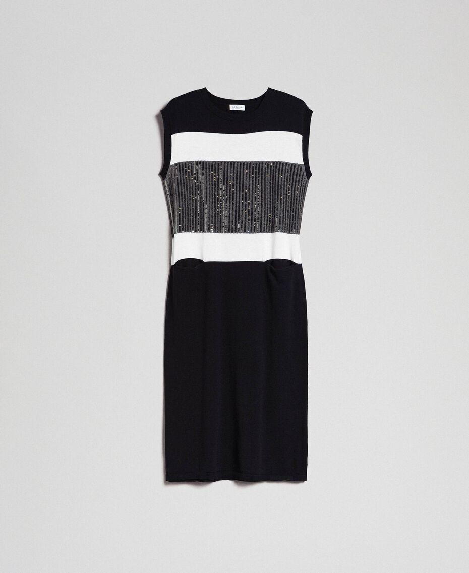 Robe color block avec broderie de sequins Rayé Noir / Blanc «Neige» / Gris Chiné Foncé Femme 192ST3073-0S