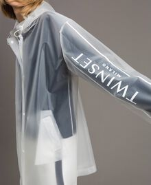 Parka antipioggia con logo Bianco Seta Opaco Donna 191TP2030-01