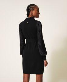Платье из полушерсти с атласом Черный женщина 202TT3170-03