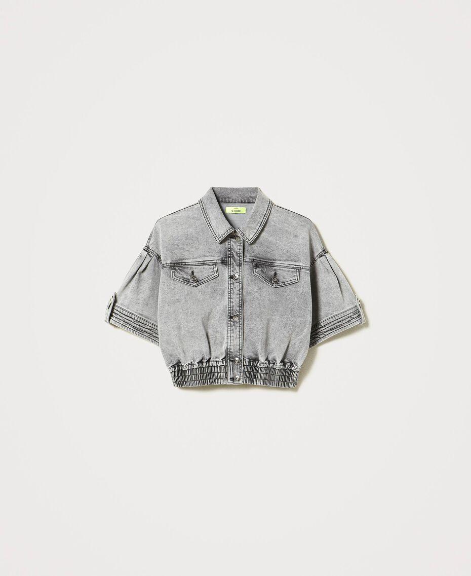 Cropped denim jacket Grey Denim Woman 211MT2562-0S