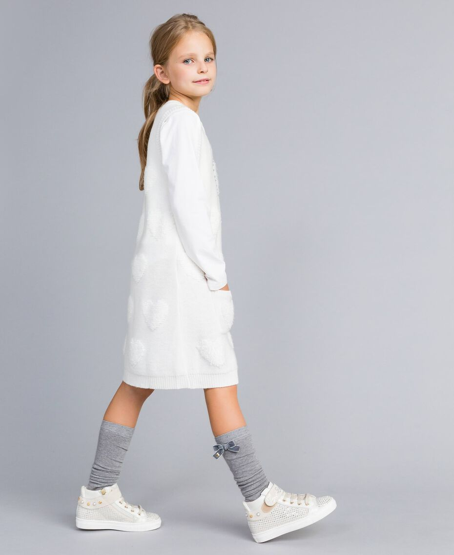 Long knitted gilet with hearts Off White Child GA83DA-02