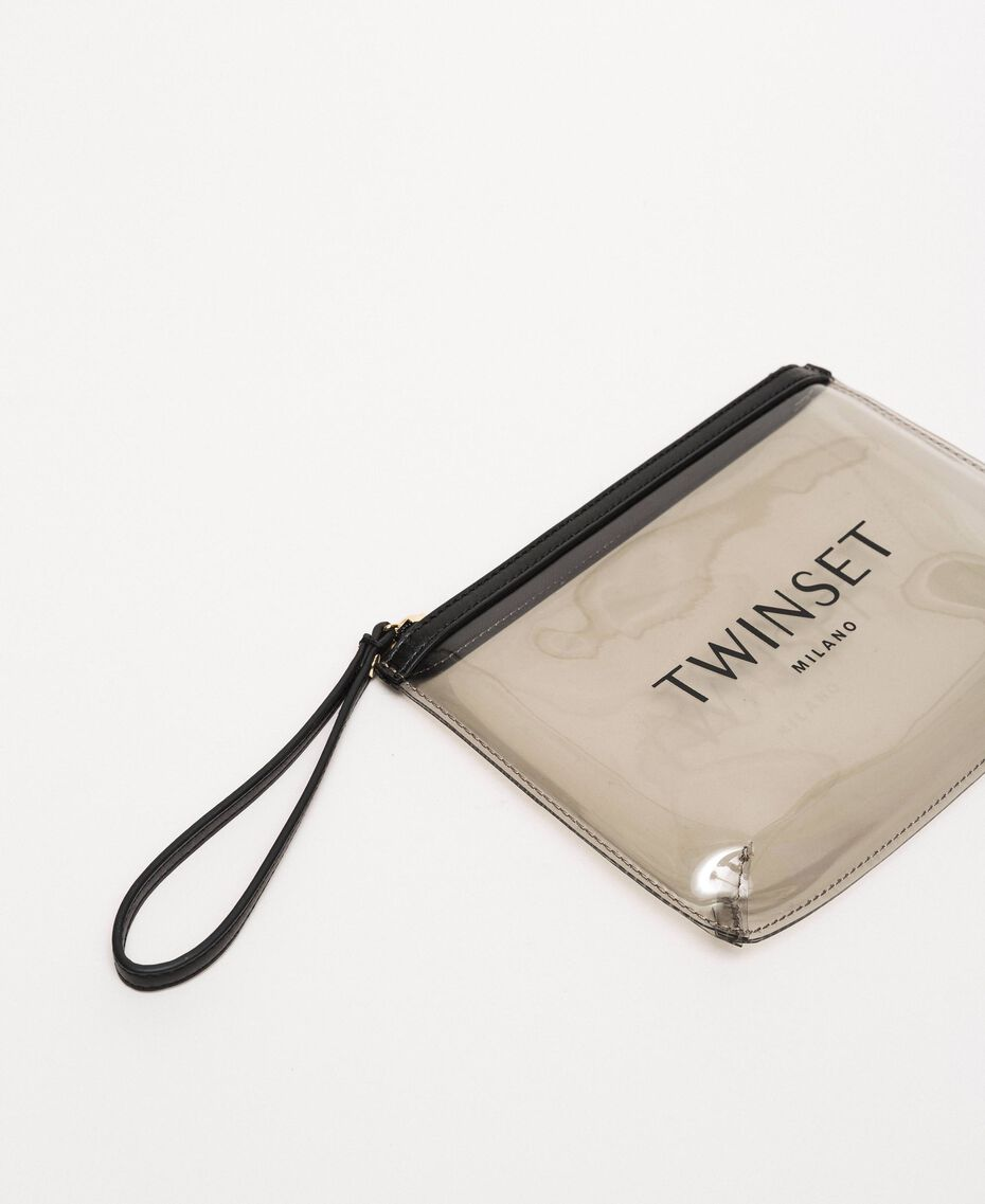 PVC pochette with logo Grey Woman 201TO7280-02