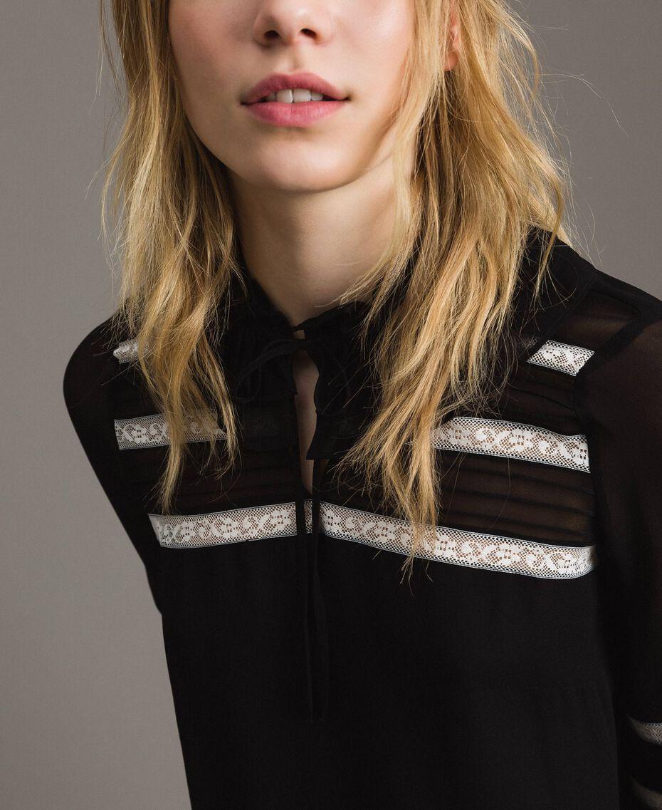 "Georgette and lace blouse Bicolour Black / ""Snow"" White Woman 191TP2122-05"