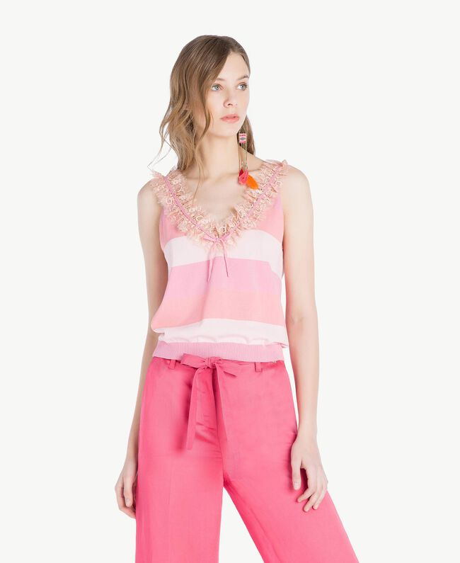 Top ruches Rayure Rose Femme TS83CC-01