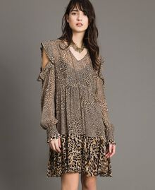Animal print georgette dress Mixed Animal Print Woman 191TP2722-01