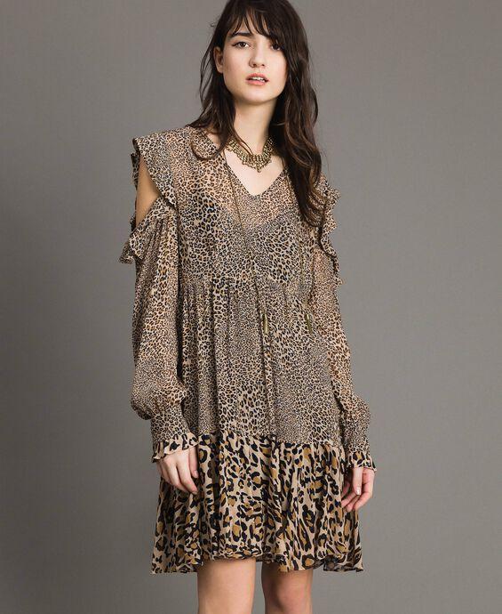 Georgette-Kleid mit Tiermuster