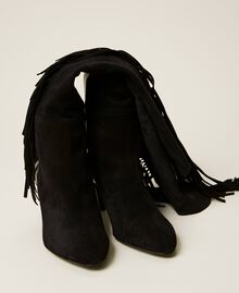 Leather high boots with fringes Black Woman 212TCP10C-05