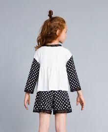 Pyjama en jersey à pois Bicolore Noir / Imprimé Pois Noir Enfant GA828D-04