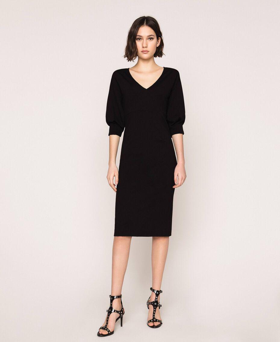 Robe fourreau avec manches 3/4 Noir Femme 201ST2054-02