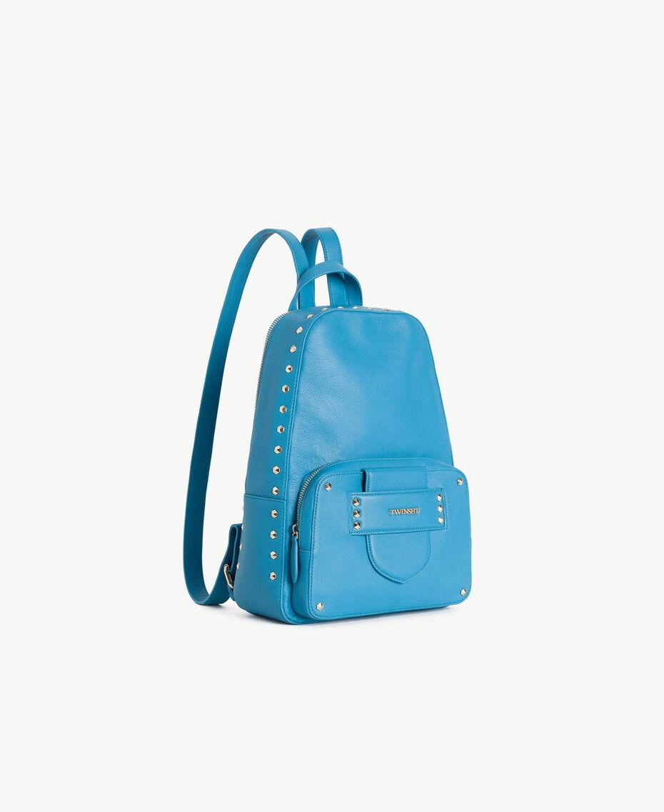 """TWINSET Studded backpack """"Gentian"""" Blue Woman OS8TBA-02"""