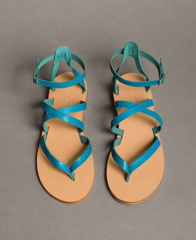 Leather sandals with straps Tile Blue Woman 191TCT09U-03