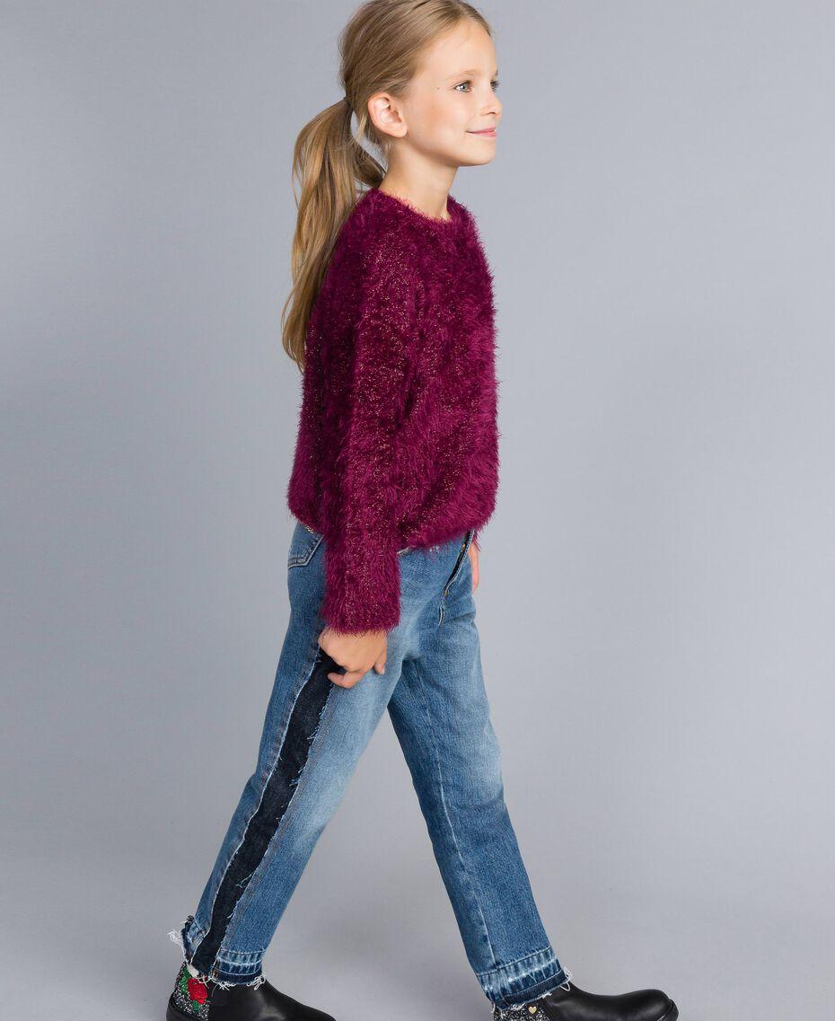 Pull en point fourrure Violet Raisin Doux Enfant GA83D2-02