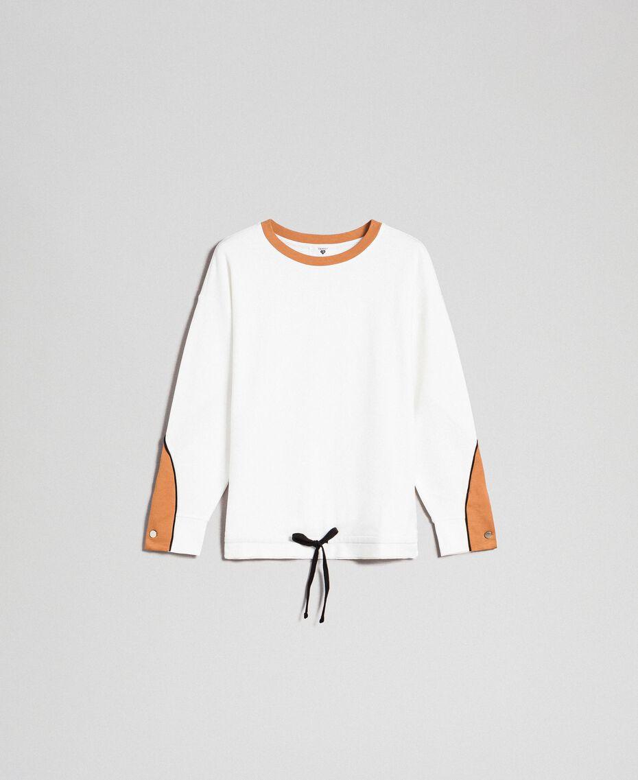 Sweatshirt mit Kontraststreifen und Tunnelzug Elfenbein / Kamelbeige Frau 192LI2HAA-0S