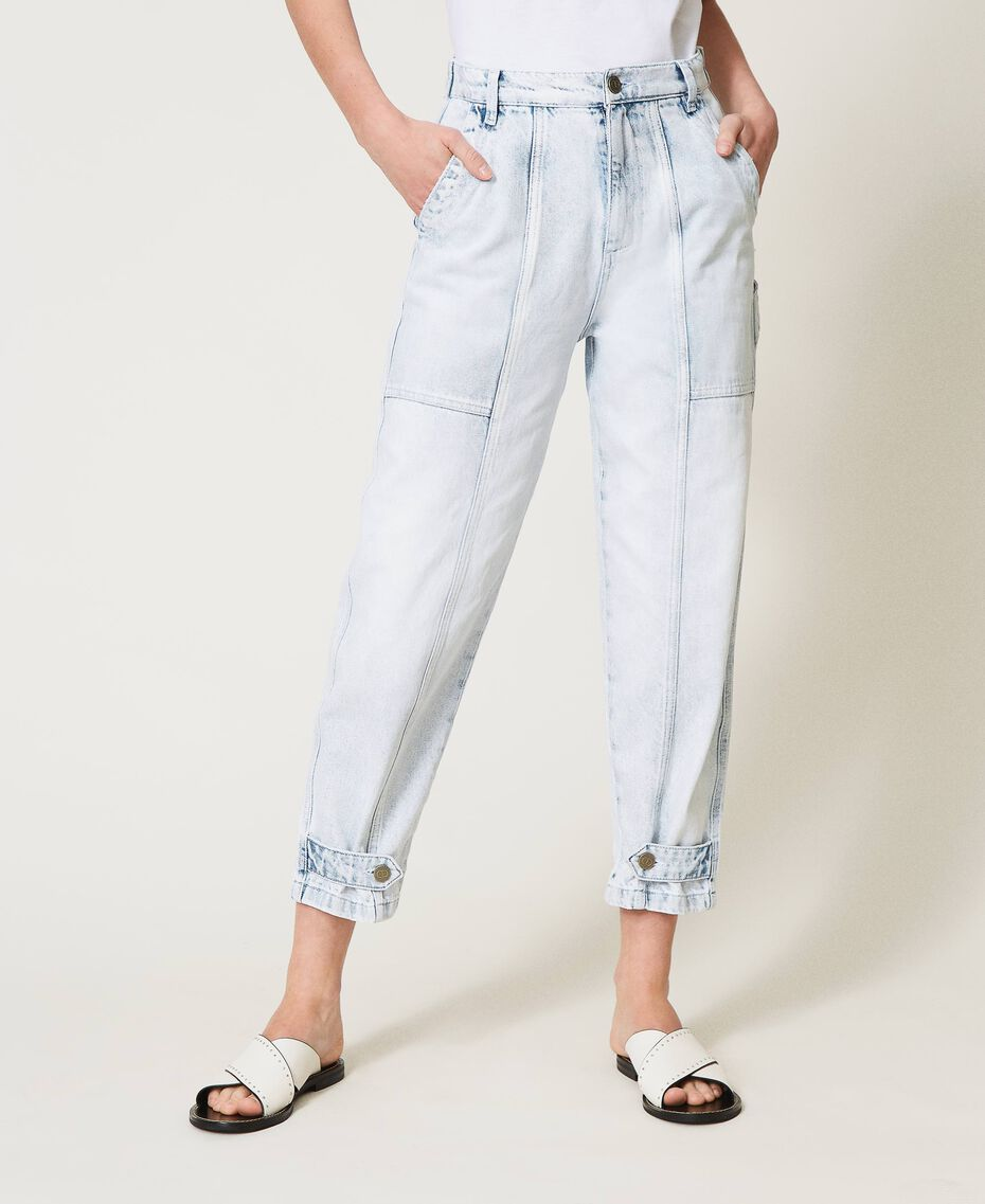 "Cargo jeans with frog fasteners Embroidered ""Beach"" Blue Woman 211TT243B-02"