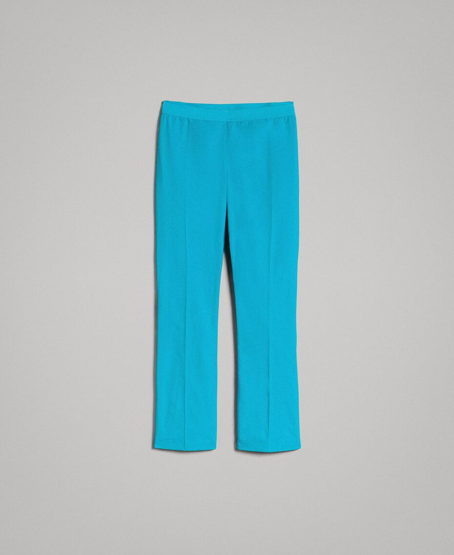 Poplin drainpipe trousers Tile Blue Woman 191TT2230-0S