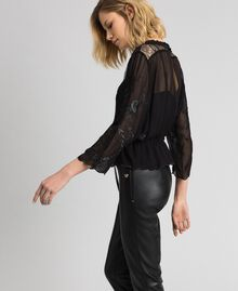 Georgette blouse with embroidery Black Woman 192TP2341-02