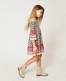 Off-shoulder animal print dress Leopard Spot & Paisley Print Child 211GJ2246-02
