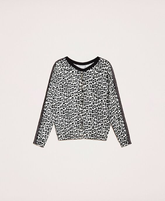 Animal print jumper-cardigan
