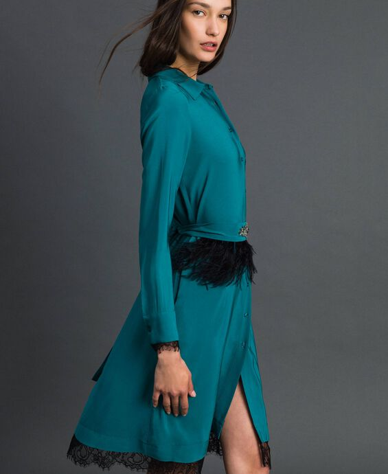 Georgette shirt dress with belt