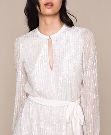 Full sequin and crystal bead dress Ivory Woman 201TP2051-04