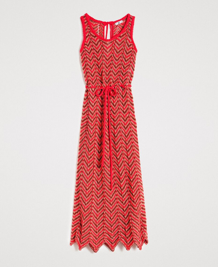 "Robe en maille de lurex Rouge ""Framboise"" Femme 191LM3KBB-0S"