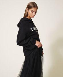 Sweatshirt mit Sticklogo Schwarz Frau 202TT2480-02