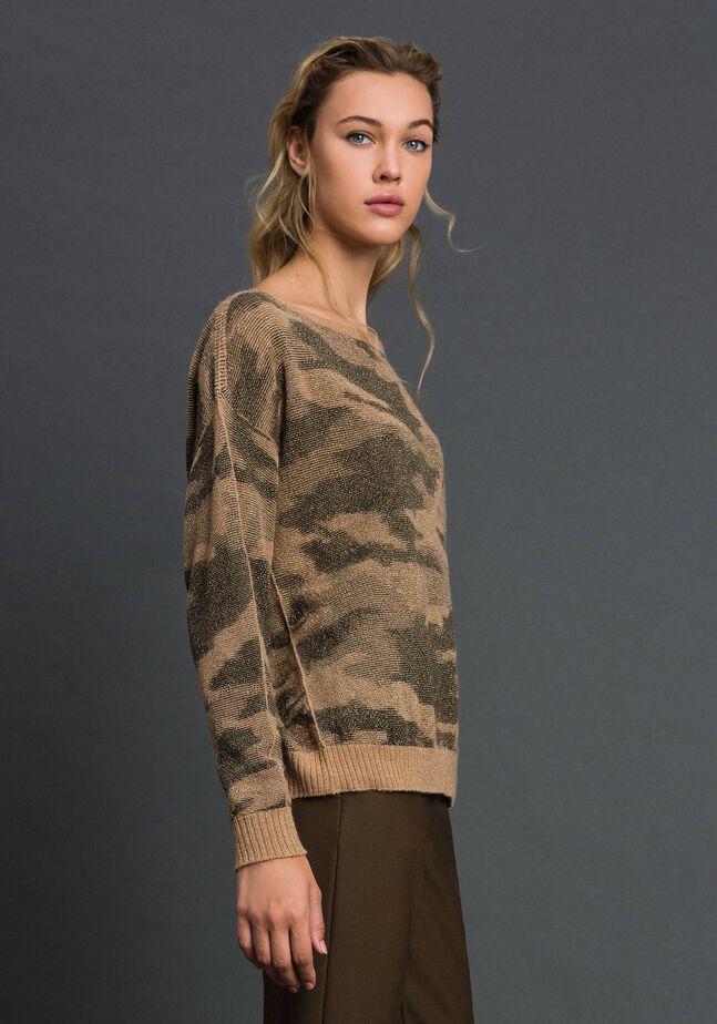 Pull jacquard motif camouflage