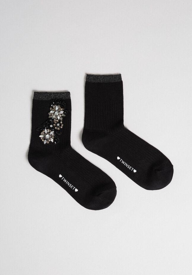 Socken mit Ziersteinchen