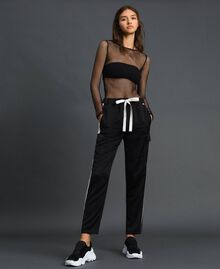 Cargo trousers with contrasting bands Two-tone Black / Lily Woman 192MP2354-02