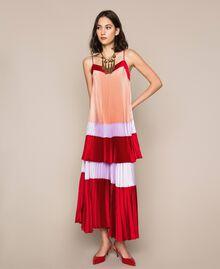 "Pleated satin slip dress Multicolour ""Lava"" Red / ""Ballerina"" Purple / Nude Pink Woman 201TP2311-0T"