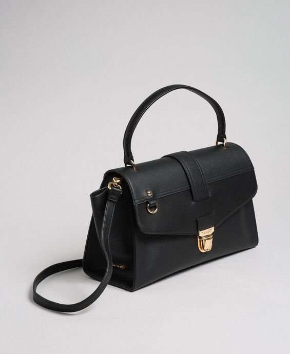 Faux leather satchel bag with flap