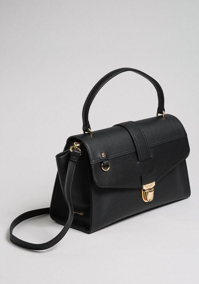 Tasche im Aktentaschenstil aus Lederimitat mit Überschlag
