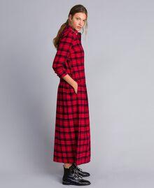 Robe longue en flanelle à carreaux Bicolore Plaid Flanelle Rouge Coquelicot/ Noir Femme YA82EB-02