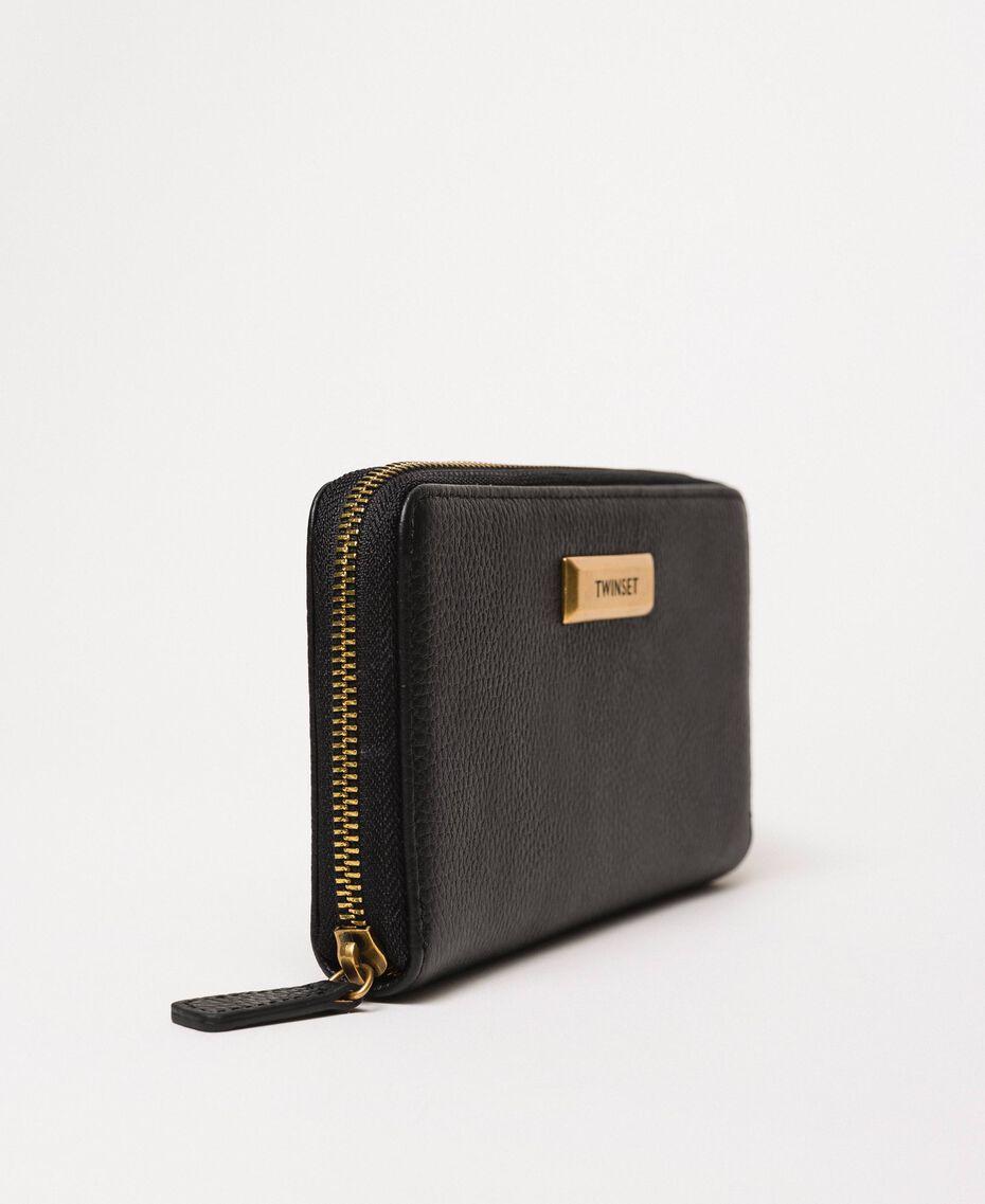 Кожаный кошелек Bea Bag с круговой молнией Черный женщина 201TA7032-02