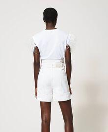 High-Waist-Shorts mit Gürtel Weiß Schnee Frau 211TT2330-03