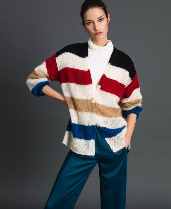 Maxi cardigan with multicolour stripes