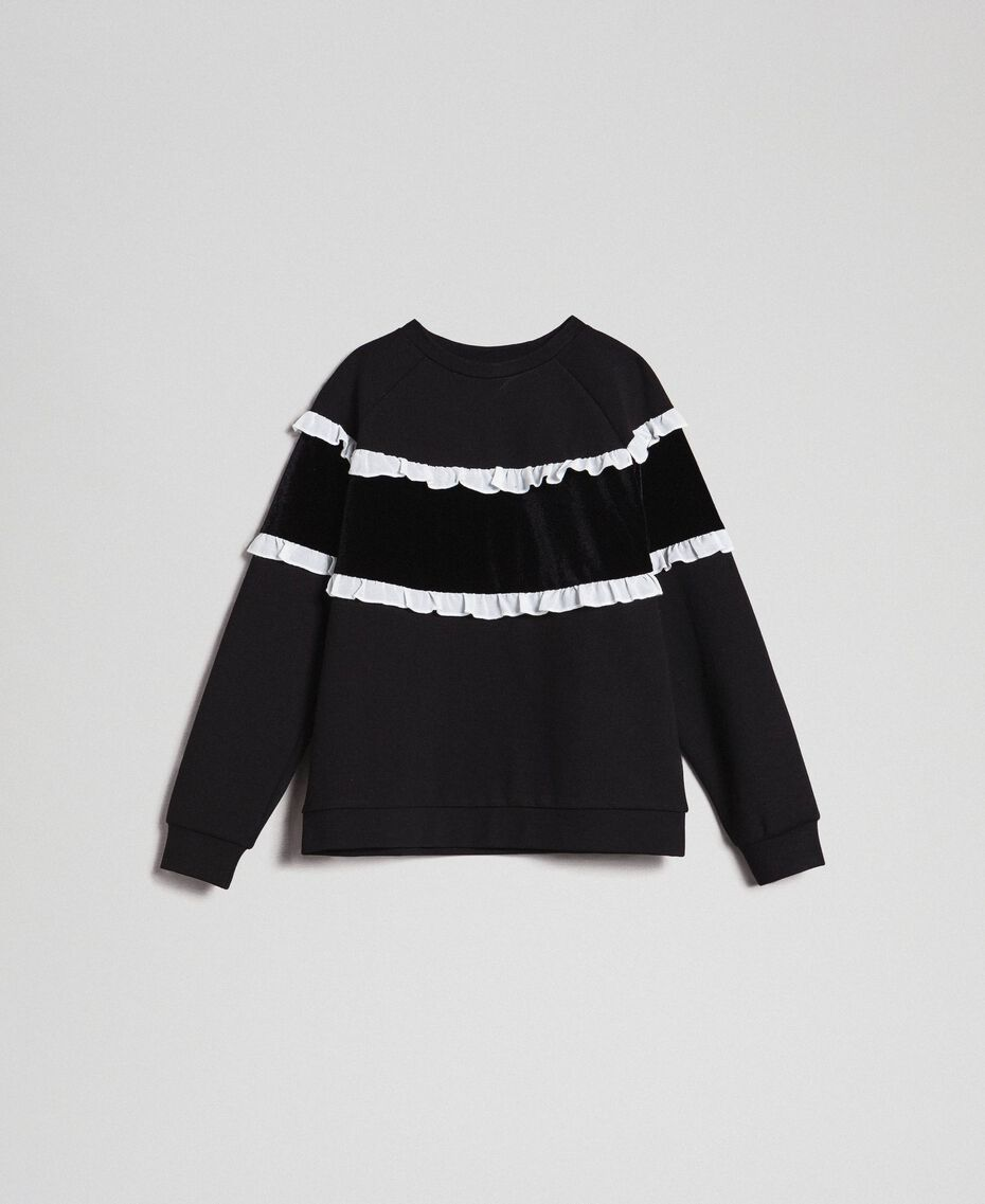 Sweat avec insertion en velours et volants Bicolore Noir / Blanc Enfant 192GJ2469-0S