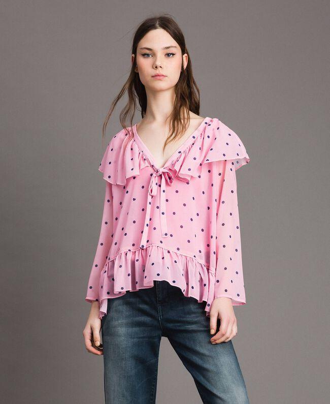 Georgette-Bluse mit Aufdruck Motiv Herzen Polka Dot Hortensienpink Frau 191MP2381-01
